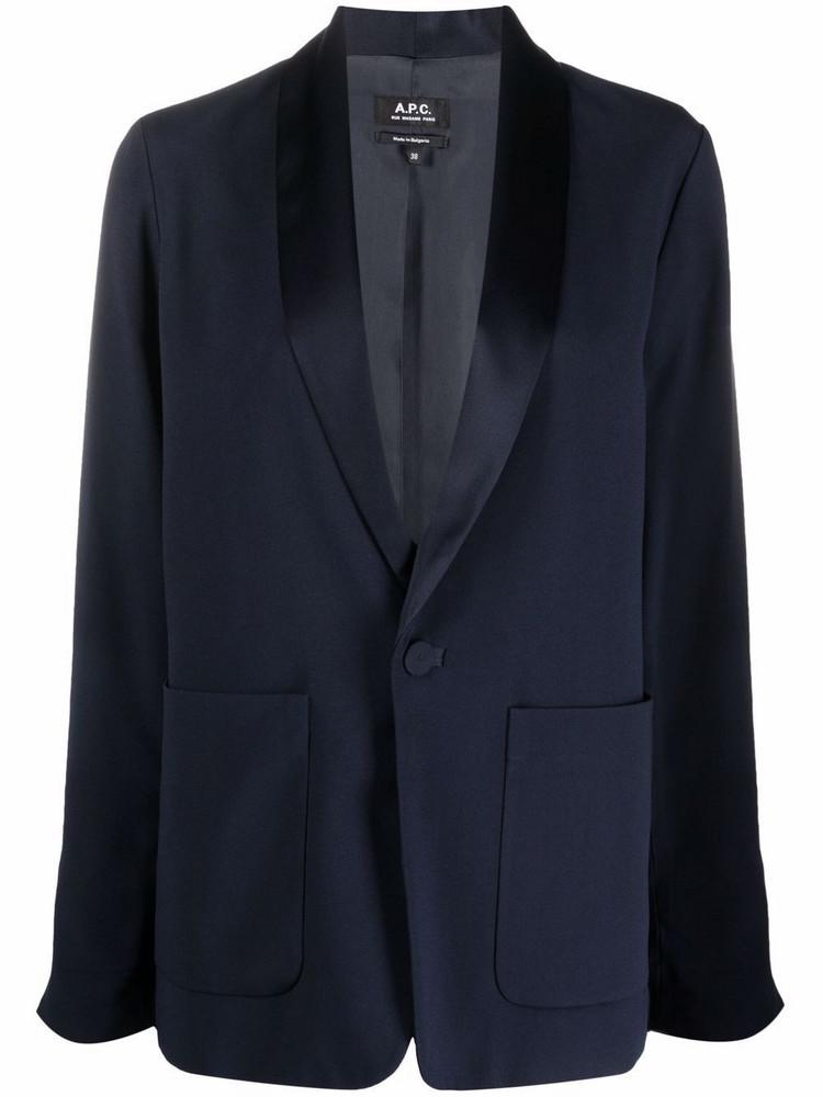 A.P.C. A.P.C. single-breasted tuxedo-lapel blazer - Blue