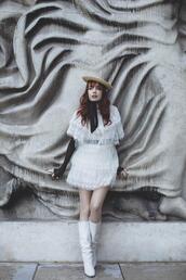 miss pandora,blogger,dress,shoes,hat,white dress,spring dress