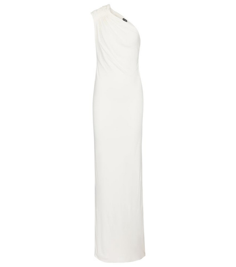 Tom Ford One-shoulder crêpe jersey gown in white