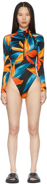 Louisa Ballou Black & Orange Springsuit One-Piece Swimsuit