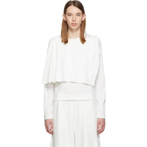 MM6 Maison Margiela White Double Layer Long Sleeve T-Shirt