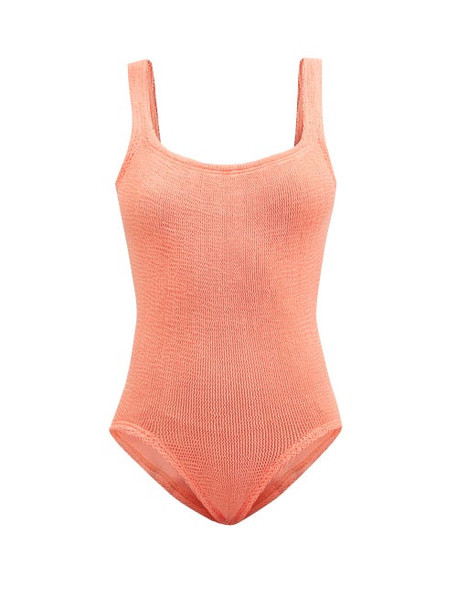 Hunza G - Square-neck Crinkle-jersey Swimsuit - Womens - Coral