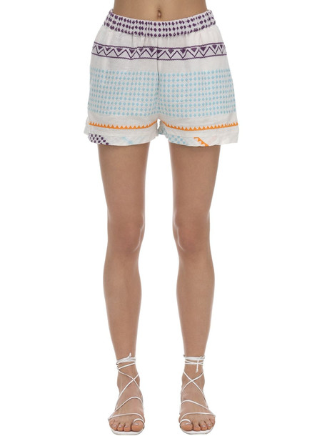 CECILIE COPENHAGEN Shortis Embroidered Cotton Shorts in white / multi