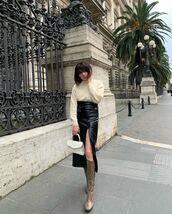 skirt,midi skirt,black leather skirt,knee high boots,snake print,turtleneck sweater,white bag