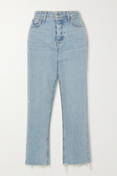 GRLFRND - Helena Frayed High-rise Straight-leg Jeans - Light denim