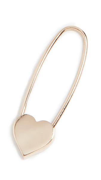 Loren Stewart Heart Safety Pin Earring in gold / yellow