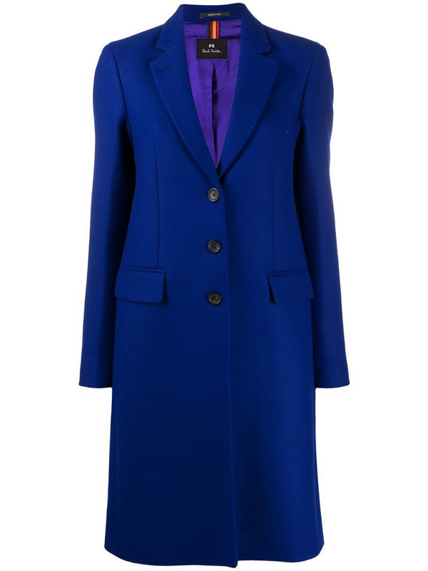 PS Paul Smith Epsom three-button coat in blue