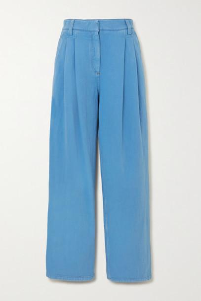 Brunello Cucinelli - Pleated Denim Straight-leg Pants - Blue