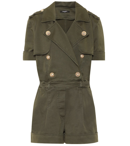 Balmain Stretch-cotton playsuit in green