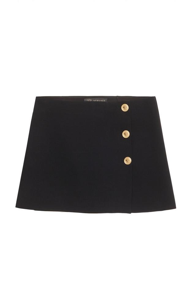 Versace 3-Button Crepe Mini Skirt in black