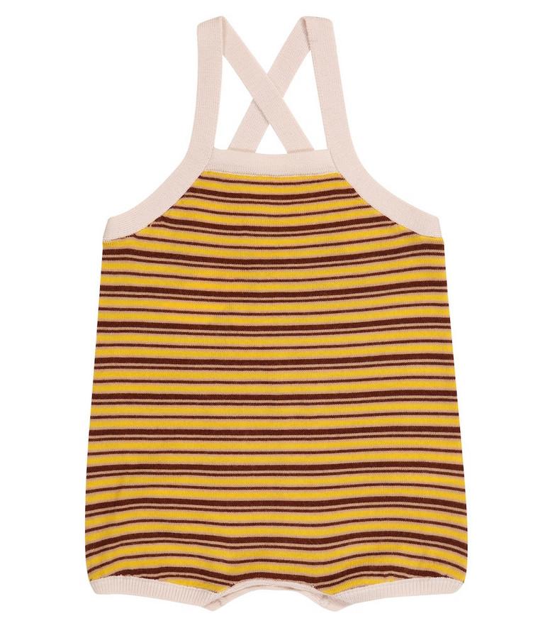 Caramel Baby Whaleshark striped wool bodysuit in yellow