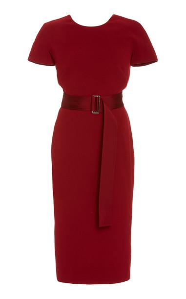 Victoria Beckham Belted Stretch-Jersey Midi Dress in burgundy