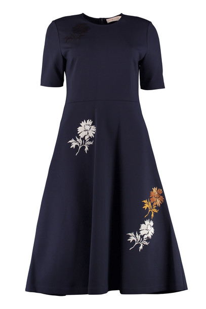Tory Burch Embroidered Midi Dress in blue
