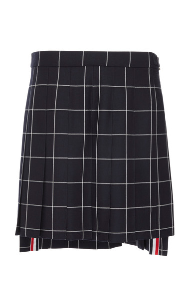 Thom Browne Grid Pleated Wool Mini Skirt Size: 40 in navy
