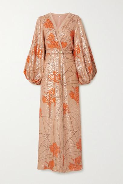 Johanna Ortiz - Bella Illusion Belted Printed Fil Coupé Silk-blend Maxi Dress - Blush