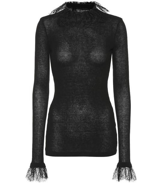Philosophy Di Lorenzo Serafini Lace-trimmed wool-blend sweater in black