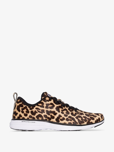 Athletic Propulsion Labs brown, black and yellow Iconic pro leopard print sneakers