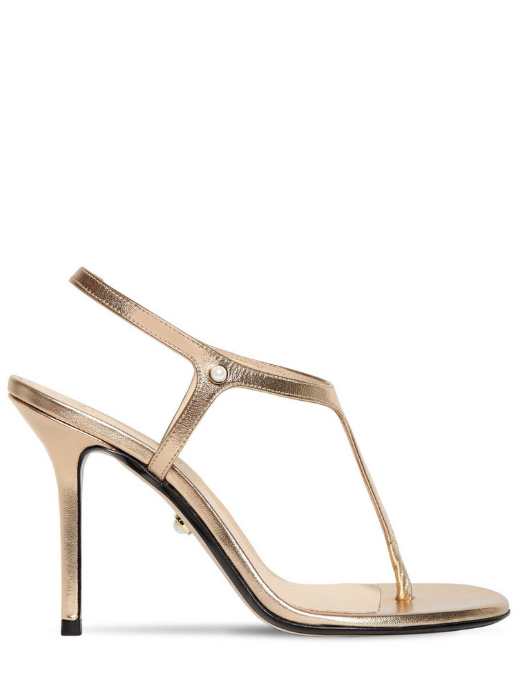 ALEVÌ 90mm Metallic Leather Thong Sandals in gold
