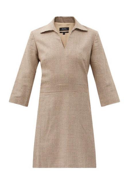 A.P.C. A.P.C. - Merida Shepherd-checked Wool-twill Dress - Womens - Beige