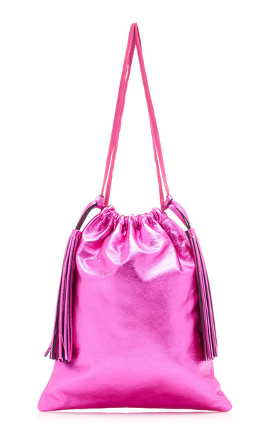 Attico Metallic Leather Pouch in pink