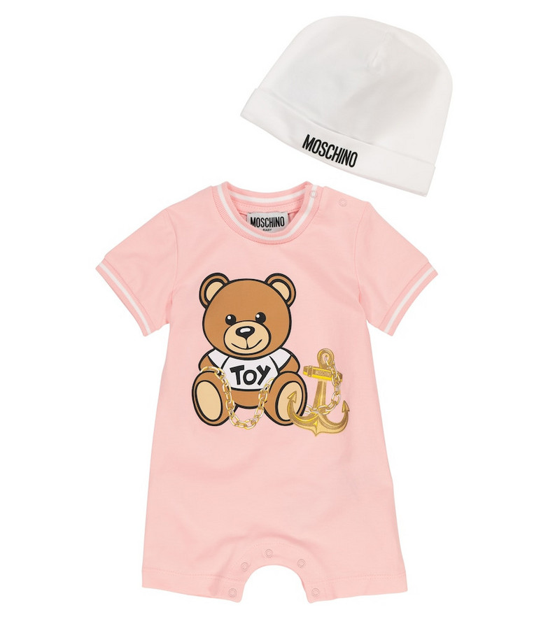 Moschino Kids Baby stretch-cotton playsuit and hat set in pink