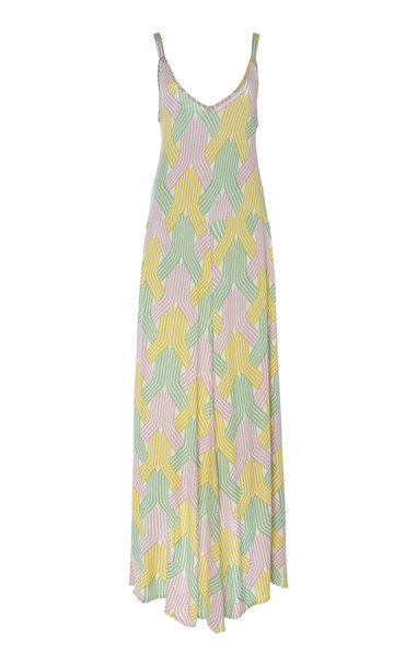 Tuinch Printed Knit Slip Dress Size: S in yellow