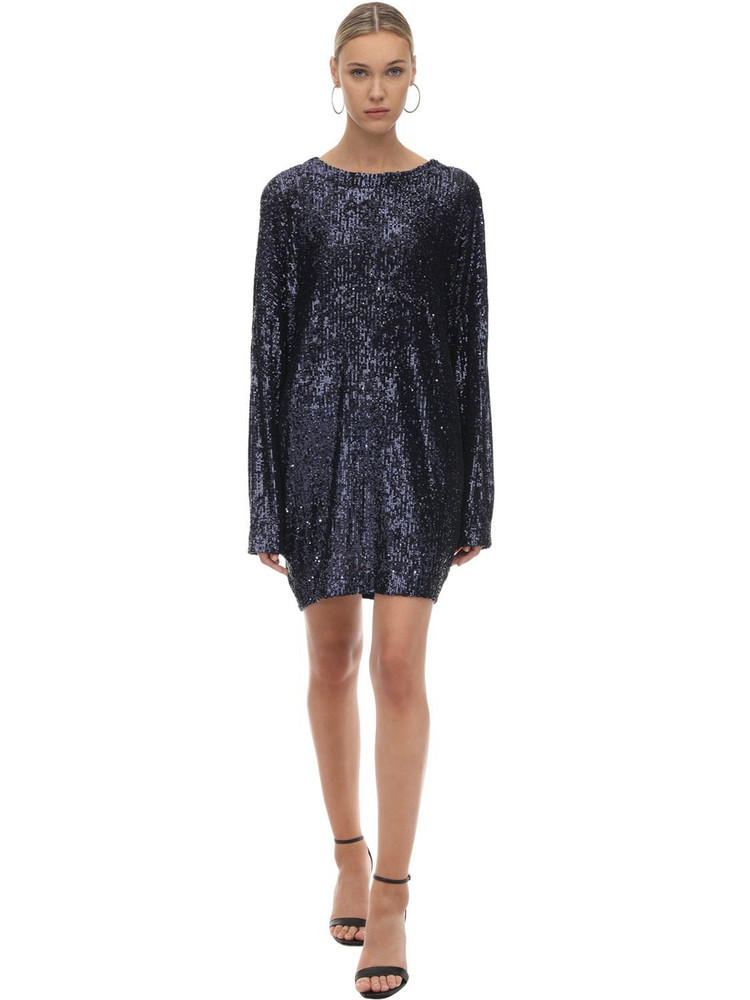 IN THE MOOD FOR LOVE Sequined Mini Dress W/ Batwing Sleeves in blue
