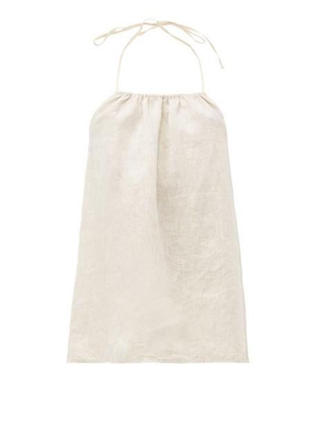 Once Milano - Jade Halterneck Top Linen Pyjamas - Womens - Beige