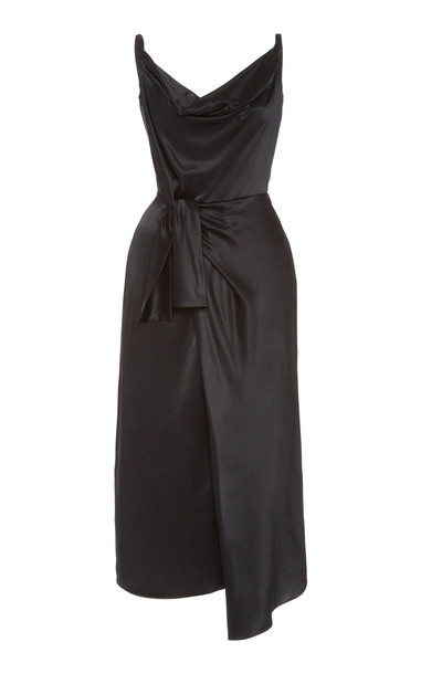 Saloni Giselle Wrap-Effect Silk-Satin Midi Dress Size: 0 in black
