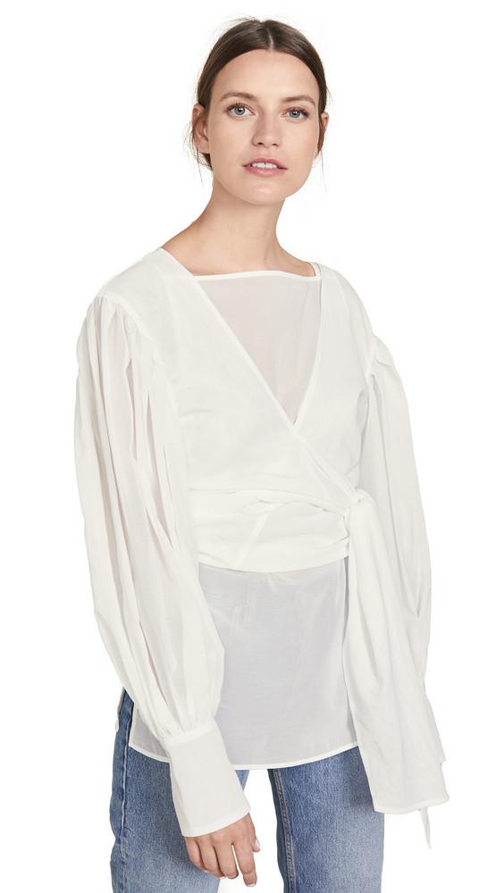Adeam Layered Tied Sash Shirt in white