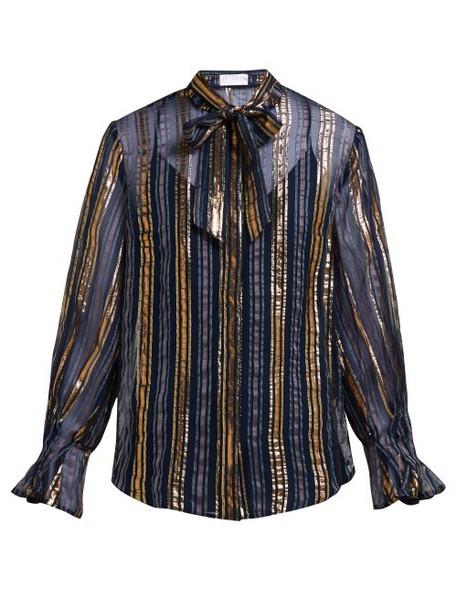 Peter Pilotto - Striped Metallic Silk Blend Chiffon Blouse - Womens - Gold Multi
