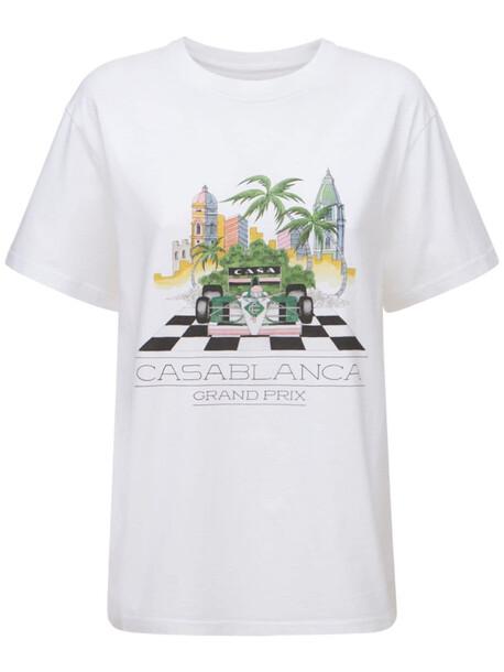 CASABLANCA Printed Organic Cotton Jersey T-shirt in white / multi