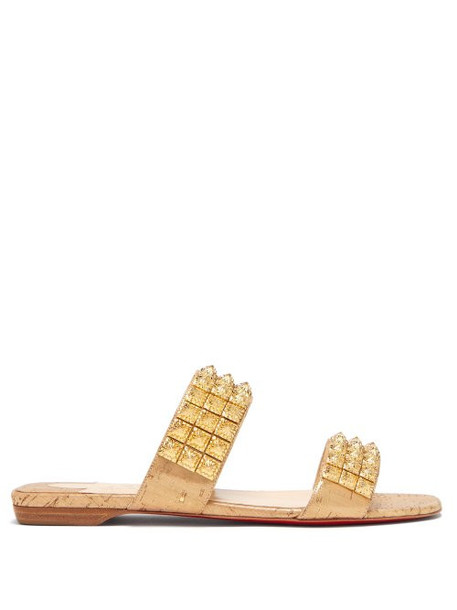 Christian Louboutin - Myriadiam Studded Strap Slides - Womens - Gold