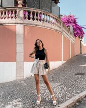 shorts,High waisted shorts,plaid shorts,platform sandals,black top,tank top,black bag