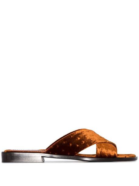 Sies Marjan Cassie ostrich-effect sandals in brown