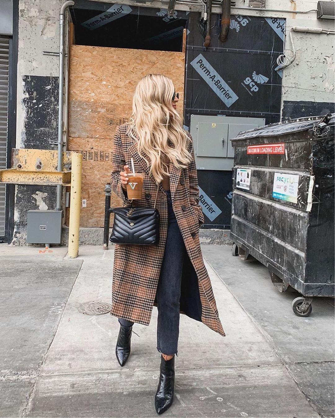 coat long coat plaid double breasted black boots ankle boots cropped jeans black bag top