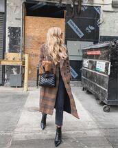 coat,long coat,plaid,double breasted,black boots,ankle boots,cropped jeans,black bag,top