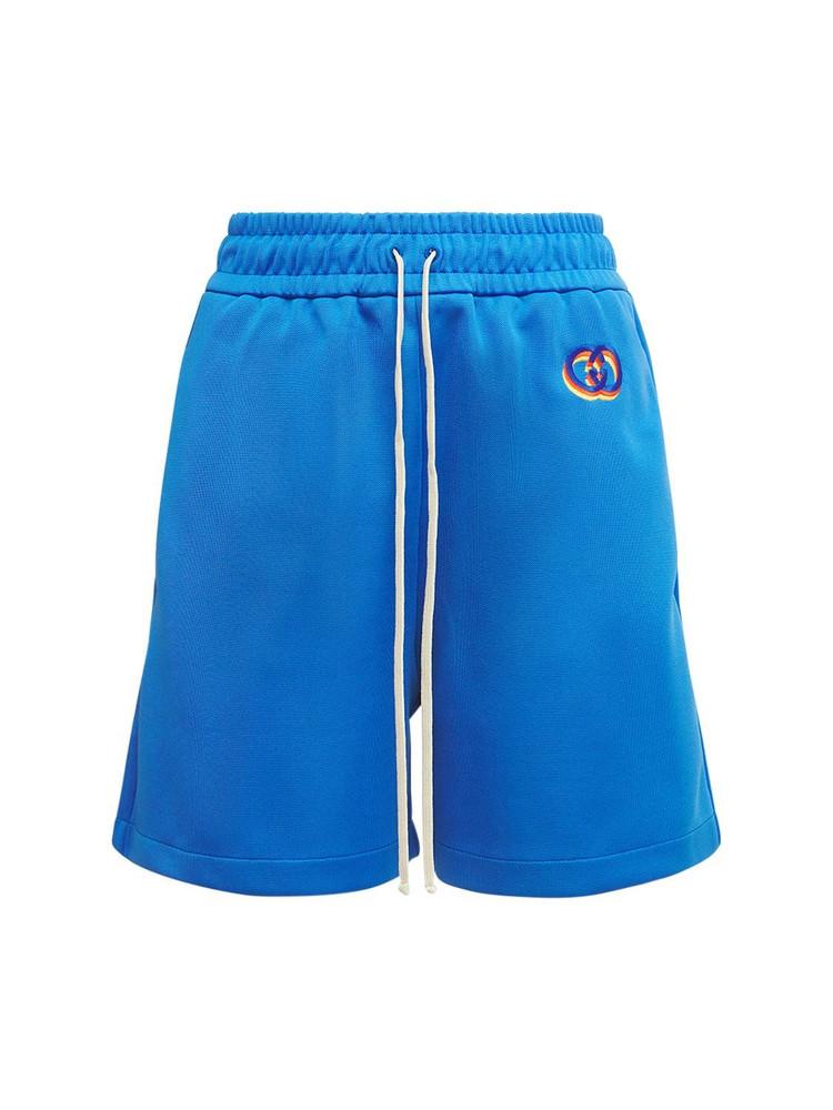 GUCCI Logo Techno Jersey Mini Shorts in blue