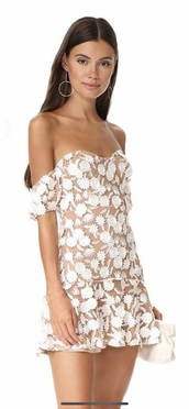 dress,white,tan,white dress,floral,embroidered,lace dress,strapless,mini dress