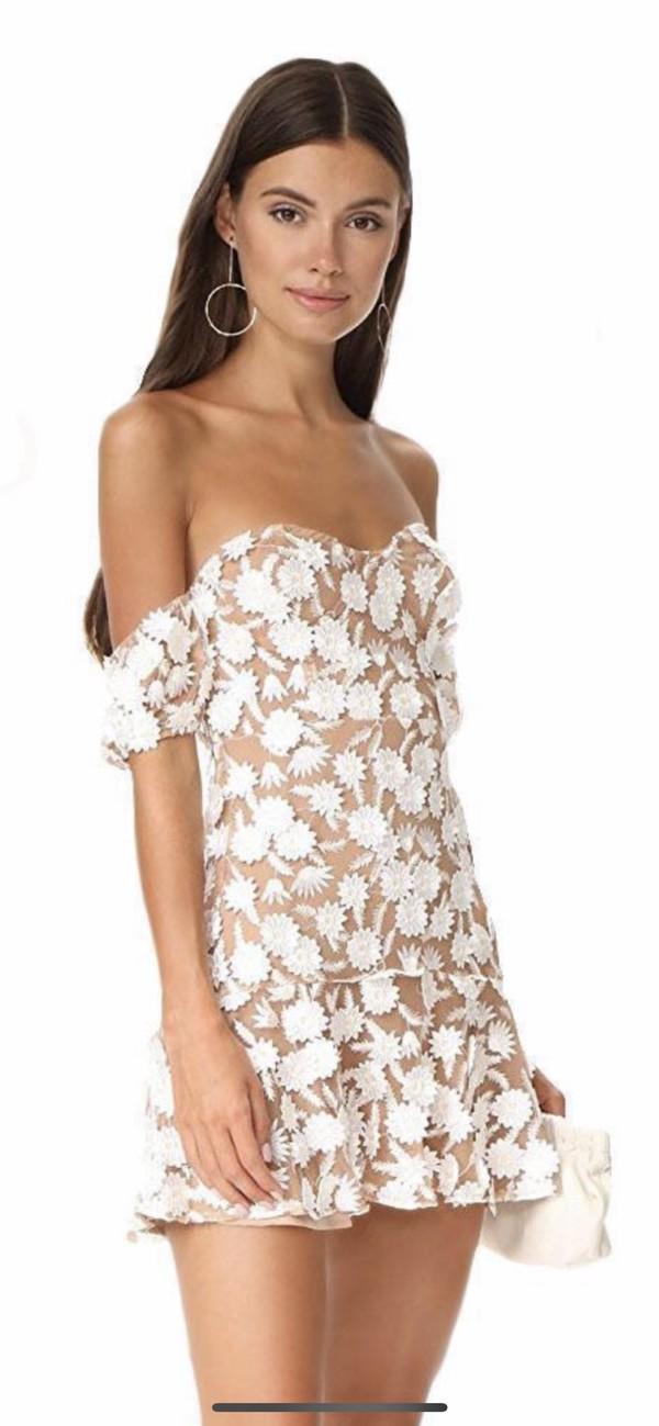 dress white tan white dress floral embroidered lace dress strapless mini dress
