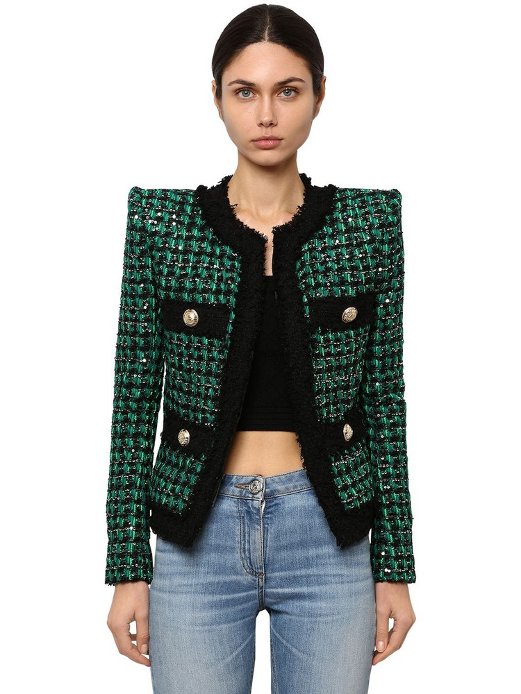 BALMAIN Embellished Techno Tweed Jacket in black / green