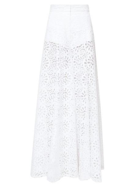 Carolina Herrera - Broderie-anglaise Palazzo Trousers - Womens - White