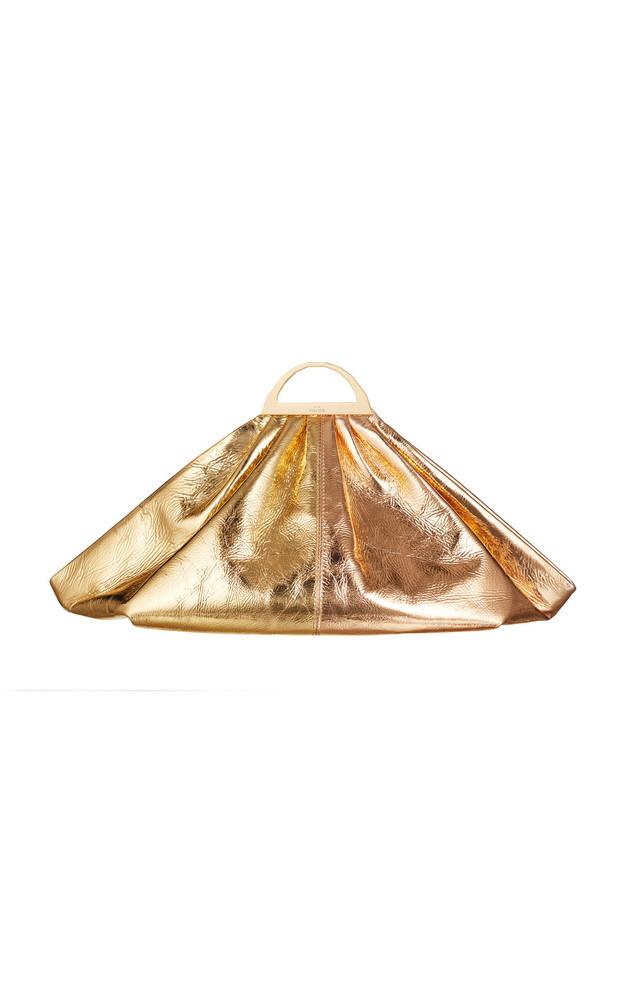 The Volon Gabi Two-Tone Metallic Leather Clutch in gold