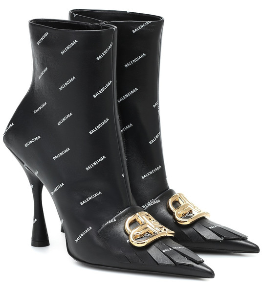 Balenciaga Fringe Knife BB leather ankle boots in black