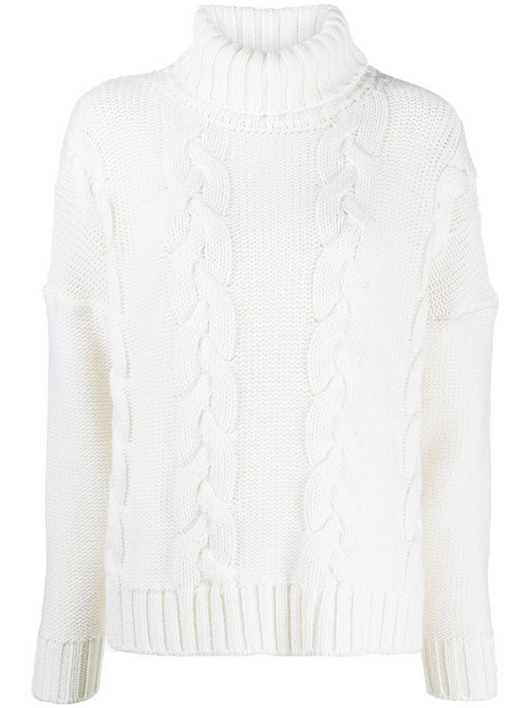 Société Anonyme cable-knit roll neck jumper in neutrals