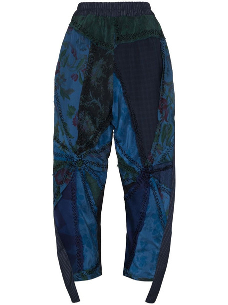 By Walid Sally floral-embroidered trousers in blue