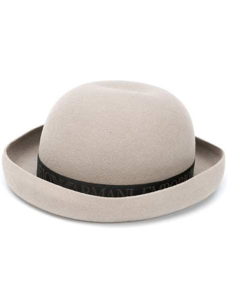Emporio Armani embroidered logo bowl hat in grey