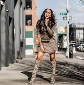 shoes,knee high boots,snake print,mini dress,long sleeve dress,polka dots