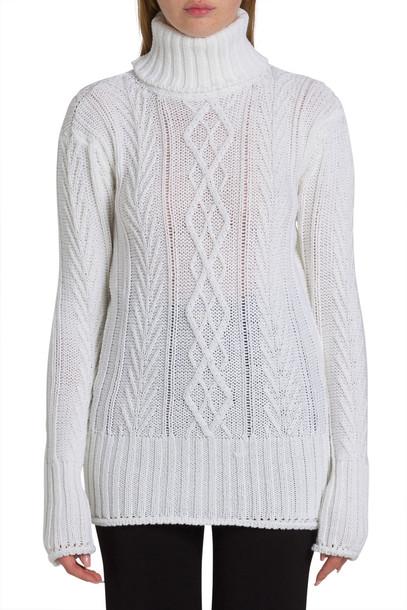 Thom Browne Stripe Back Turtleneck Sweater in bianco