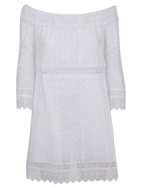Charo Ruiz Off Shoulder Perforated Dress in white